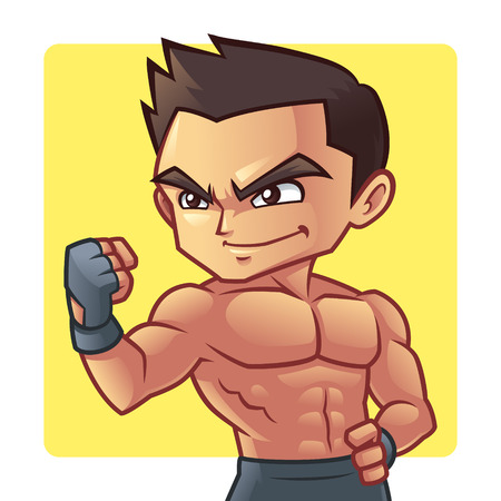body shape: Fitness man Great body shape of fitness man mascot character.