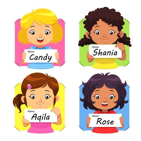 女の子は 1 を名します。女の子は自分の名前のタグを保持しています。