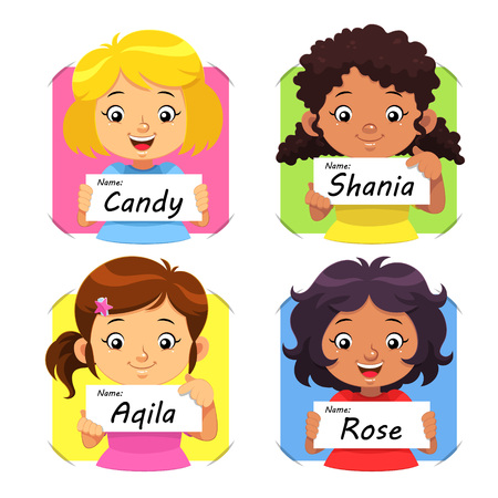 name tag: Girls Name 1. Girls holding their name tag.