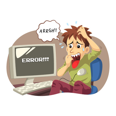 annoying: Computer Error. A man panic and stressed because his computer error and can do nothing.