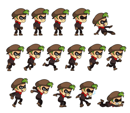 moves: Thief Boy game sprites for side scrolling action adventure endless runner 2D mobile game.