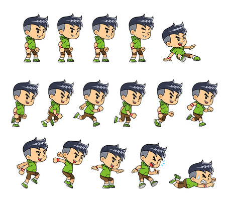 ios: Sporty Boy game sprites for side scrolling action adventure endless runner 2D mobile game. Illustration