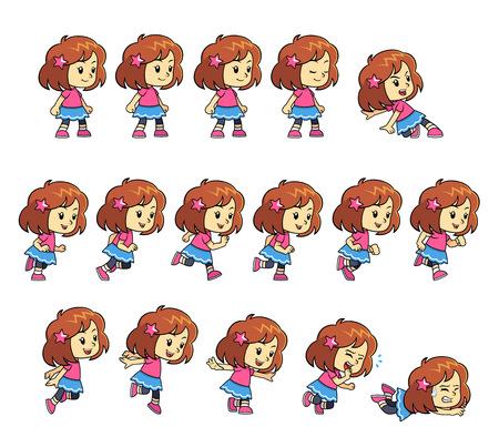 personnage: Pinky fille sprites de jeux pour défilement horizontal aventure action coureur sans fin jeu mobile 2D.