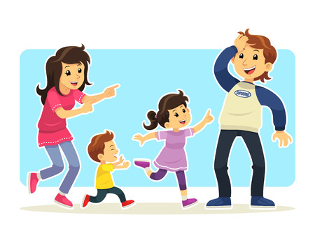 girl illustration: Happy Family Happy and funny family complete group of mother, son, daughter, and father.