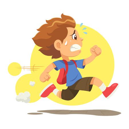 Funcionamiento tarde a la escuela Un niño corriendo a toda prisa porque tarde para ir a la escuela.