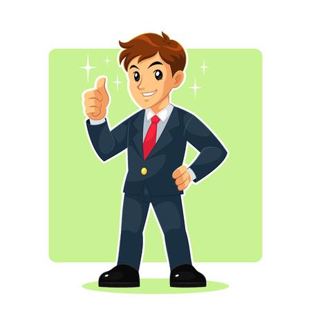 El hombre de negocios de la mascota del carácter del hombre de negocios personaje de dibujos animados. Ilustración de vector