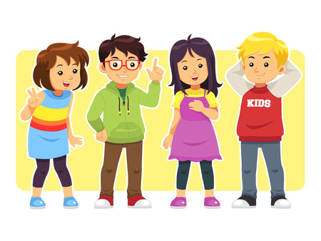 Casual Kids. A group of children boys and girls with casual clothes. Vector Illustration