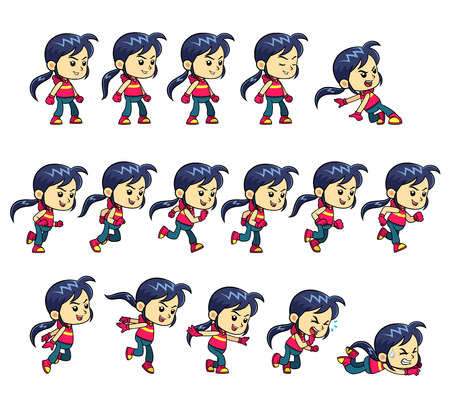 scrolling: Action Girl Game Sprites. Action Girl game sprites for side scrolling action adventure endless runner 2D mobile game.