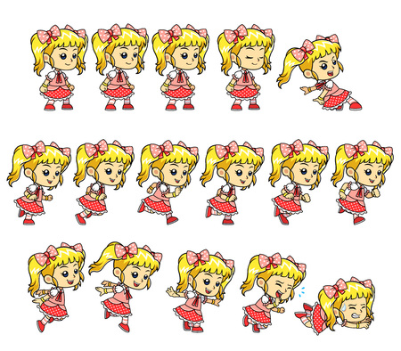 Candy Girl Game Sprites. Candy Girl game sprites for side scrolling action adventure endless runner 2D mobile game.