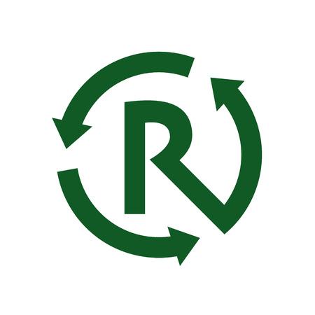 recycle sign: Recycle letter R sign and symbol vector. Illustration