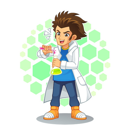 invent clever: Cool Scientist Mascot Character. High quality vector cartoon mascot character of cool scientist.
