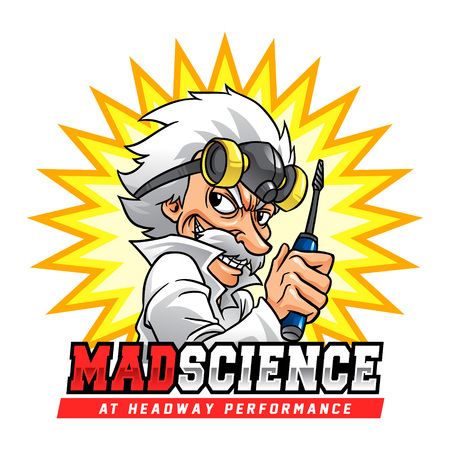Mad Science Professor. Mad scientist with gas mask and screwdriver. Vektorové ilustrace