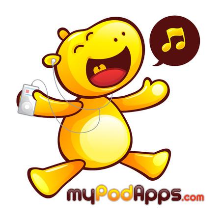 Yellow Hippopotamus Mascot Character. Happy hippo listening to music player.