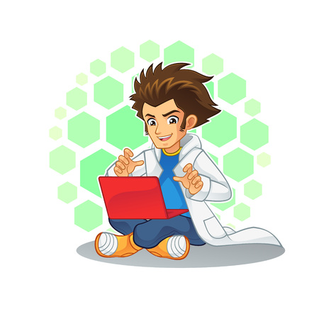 educated: Cool Scientist Mascot Character. High quality vector cartoon mascot character of cool scientist.