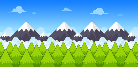 Mountain Day Game Background. Suitable for side scrolling, action, and adventure game. Illustration