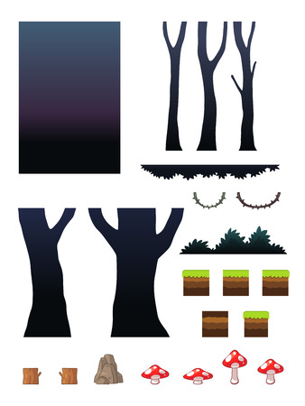 Spooky Forest Scenes Game Background. Suitable for side scrolling, action, and adventure game.