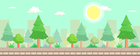 City Park Scenes Game Background. Suitable for side scrolling, action, and adventure game.