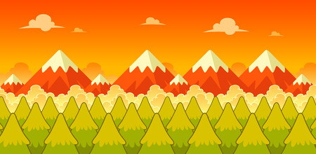 Mountain Evening Game Background. Suitable for side scrolling, action, and adventure game. Illustration