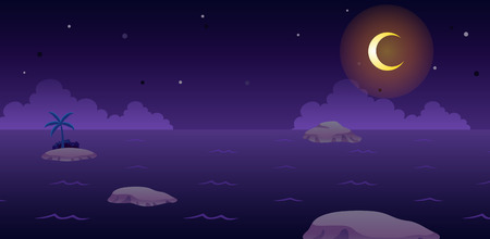 Ocean Night Game Background. Suitable for side scrolling, action, and adventure game. Stock Vector - 67810053