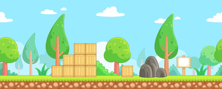 Nature Scenes Game Background. Suitable for side scrolling, action, and adventure game. Stock Vector - 67810055