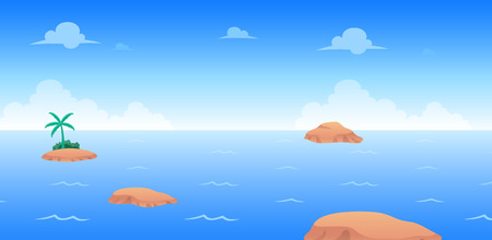 Ocean Day Game Background. Suitable for side scrolling, action, and adventure game. Illustration