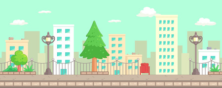 scrolling: City Park Scenes Game Background. Suitable for side scrolling, action, and adventure game.