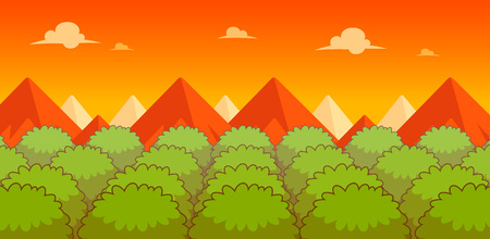 scrolling: Forest Evening Game Background. Suitable for side scrolling, action, and adventure game. Illustration