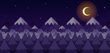 Mountain Night Game Background. Suitable for side scrolling, action, and adventure game.