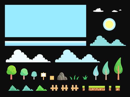 자연 경관 게임 배경입니다. 사이드 스크롤, 액션, 어드벤처 게임에 적합합니다.
