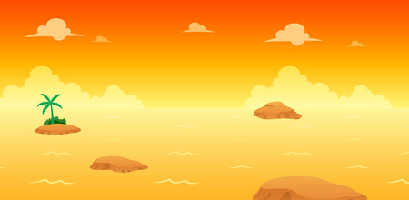 Ocean Evening Game Background. Suitable for side scrolling, action, and adventure game. Illustration