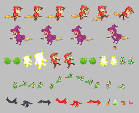 sprite: Red Hood Scared Boy Game Sprites. Suitable for side scrolling, action, and adventure game. Illustration