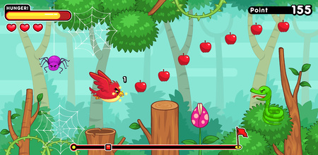 ios: Hungry Bird game assets for 2D screen tapping addicts sidescroller game. Illustration