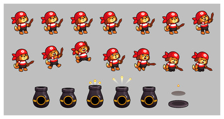 Pirate Dog And Cannon Game Sprites. Suitable for side puzzle, shooter, and  casual game.