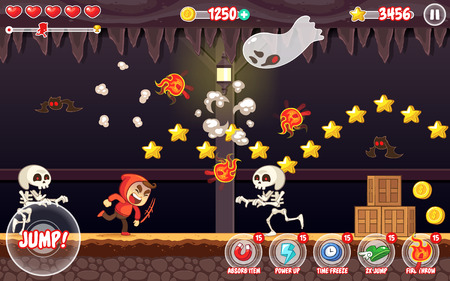 Spooky Places game assets for 2D endless runner action adventure game.