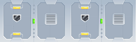 space station: Space Ship Game Background. Suitable for side scrolling, action, and adventure game. Illustration