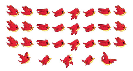 Flying Red Bird Game Sprites. Suitable for side scrolling, action, and adventure game. Illustration