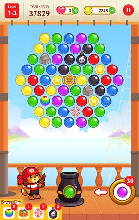 キャノン ボール シューティング ゲーム 2 D のバブルのシューティング ゲームのゲーム アセットのパズルゲームします。