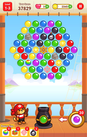 Cannon Ball Shooter game assets for 2D bubble shooter puzzle game. Illustration