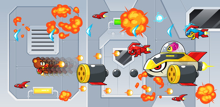 The Rocketeers game assets for 2D action adventure shooting sidescroller game.