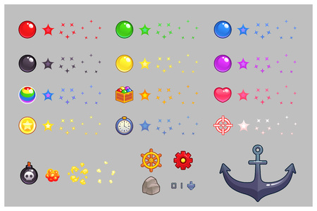 Miscellaneous Items Game Sprites. Suitable for side puzzle, shooter, and  casual game.