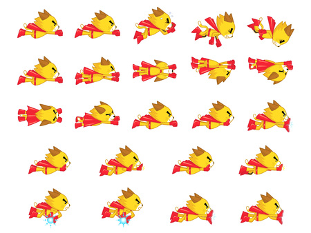 scrolling: Yellow Cat With Red Cape Game Sprites. Suitable for side scrolling, shooting, action, and adventure game.