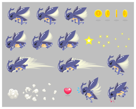 scrolling: Stag Beetle Enemy Game Sprites. Suitable for side scrolling, action, and adventure game.