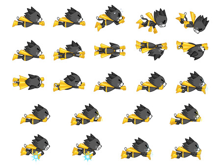 scrolling: Black Cat With Yellow Cape Game Sprites. Suitable for side scrolling, shooting, action, and adventure game.