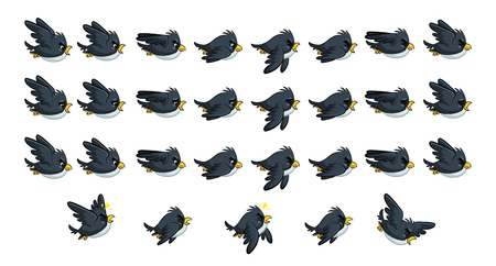 Flying Black Bird Game Sprites. Suitable for side scrolling, action, and adventure game.