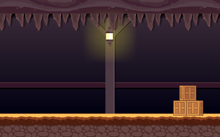 Haunted Dungeon Game Background. Suitable for side scrolling, action, and adventure game. Illustration