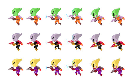 creature: Space Creature With Jet Pack And Gun Game Sprites. Suitable for side scrolling, shooting, action, and adventure game. Illustration