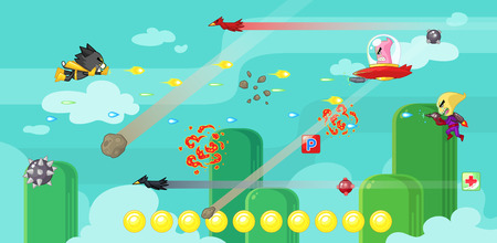 scrolling: Super Cat game assets for 2D action adventure shooting side scrolling game. Illustration