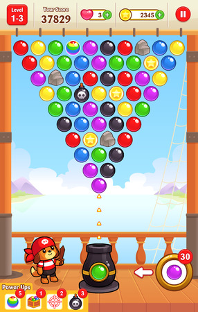 shooting: Cannon Ball Shooter game assets for 2D bubble shooter puzzle game. Illustration