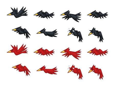 黒と赤のカラス ゲーム スプライト。横スクロール、シューティング、アクション、アドベンチャー ゲームに適しています。