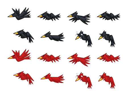 Black And Red Crows Game Sprites. Suitable for side scrolling, shooting, action, and adventure game. 向量圖像